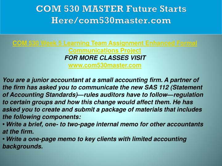 COM 530 MASTER Future Starts Here/com530master.com