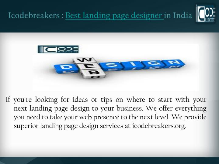 Icodebreakers best landing page designer in india