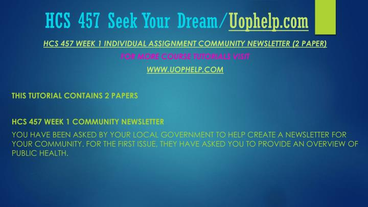 Hcs 457 seek your dream uophelp com2