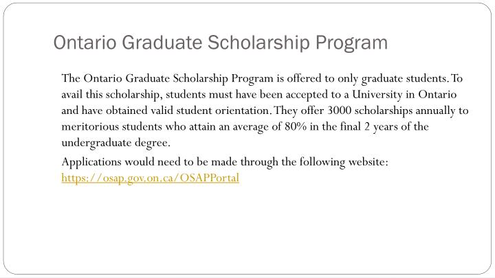 Ontario Graduate Scholarship Program