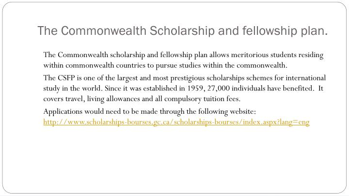The commonwealth scholarship and fellowship plan