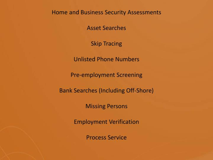 Home and Business SecurityAssessments