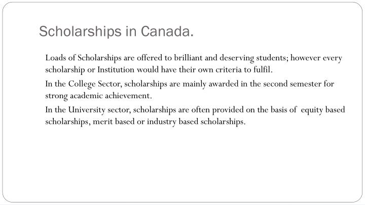 Scholarships in Canada.