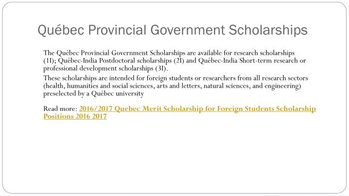 Québec Provincial Government Scholarships