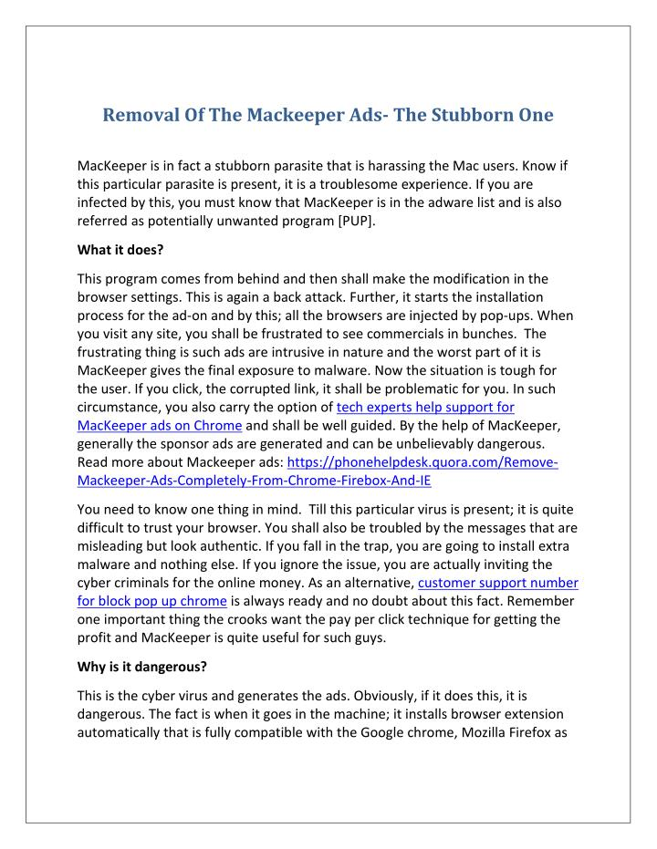 Removal Of The Mackeeper Ads- The Stubborn One