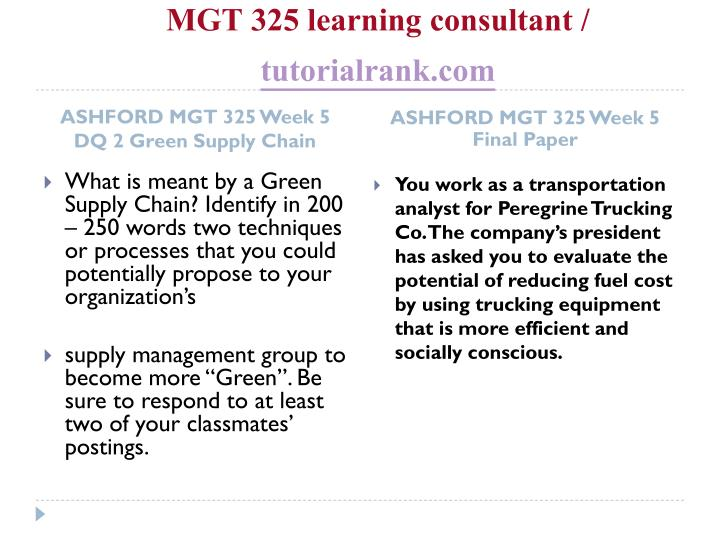 MGT 325 learning consultant /