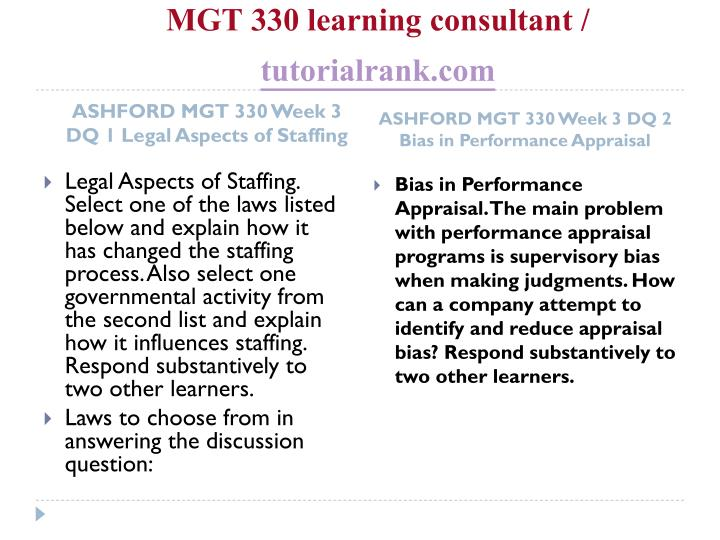 MGT 330 learning consultant /