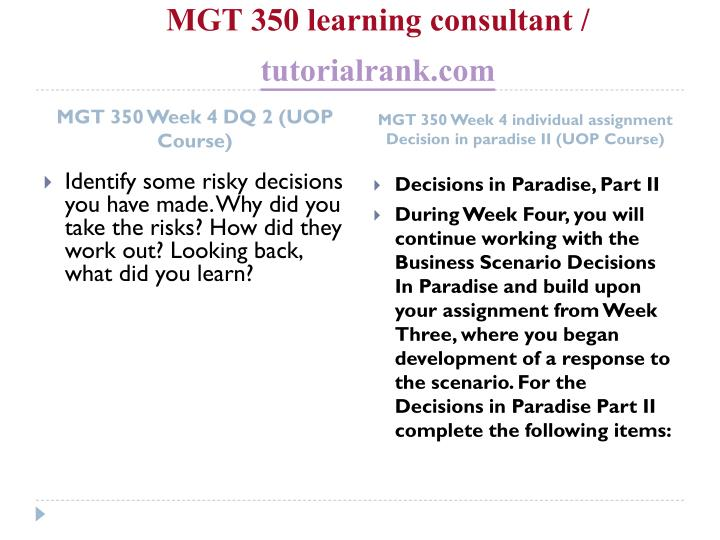 MGT 350 learning consultant /