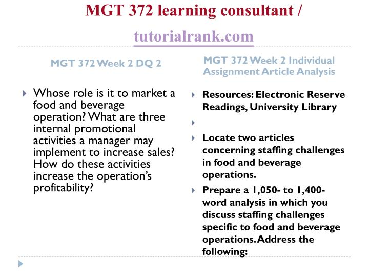 MGT 372 learning consultant /