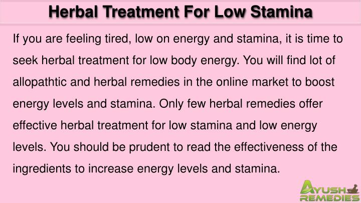 Herbal Treatment For Low Stamina