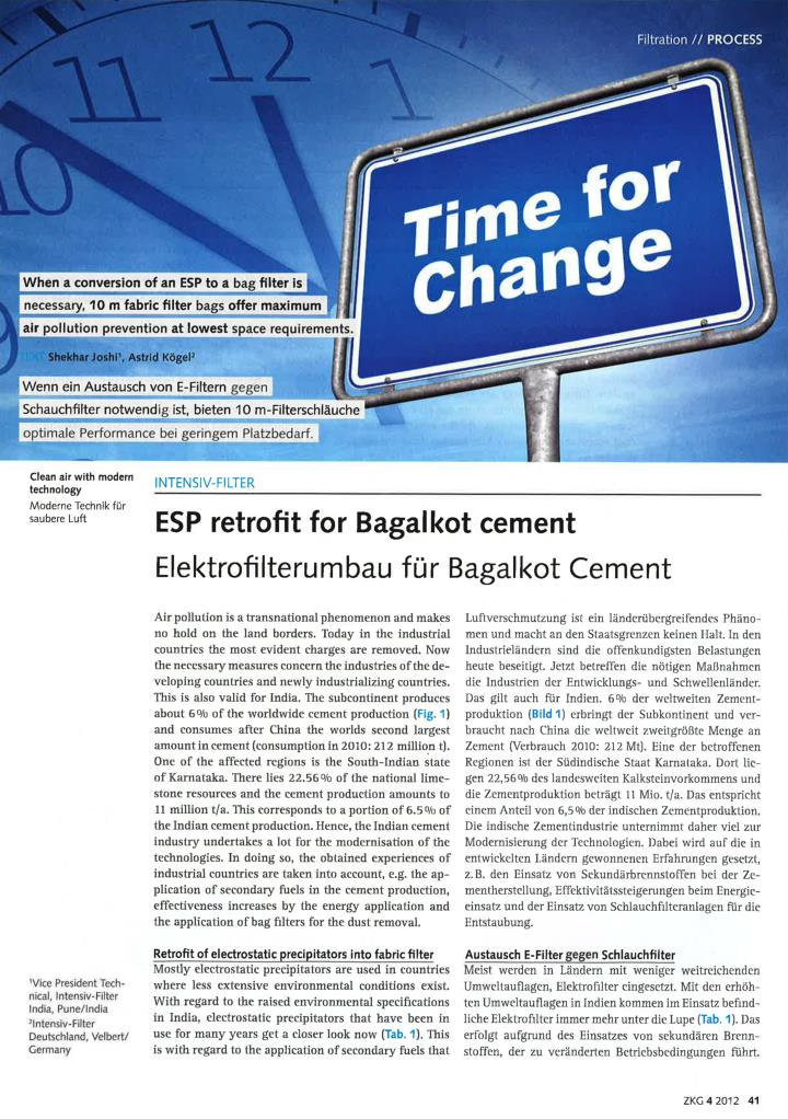 Esp retrofit for bagalkot cement intensiv filter himenviro
