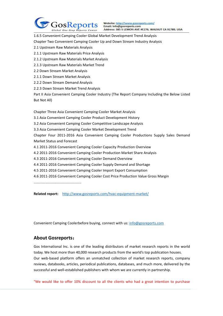 1.6.5 Convenient Camping Cooler Global Market Development Trend Analysis