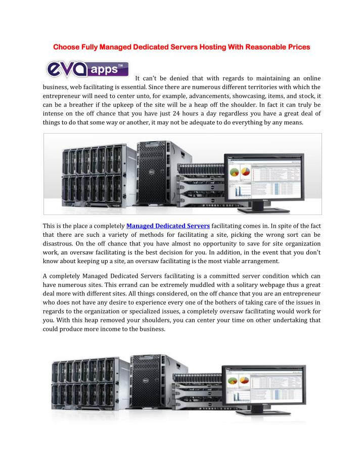 Choose Fully Managed Dedicated Servers Hosting With Reasonable Prices
