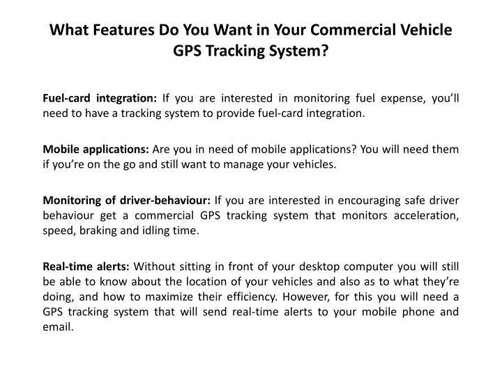 What Features Do You Want in Your Commercial Vehicle GPS Tracking