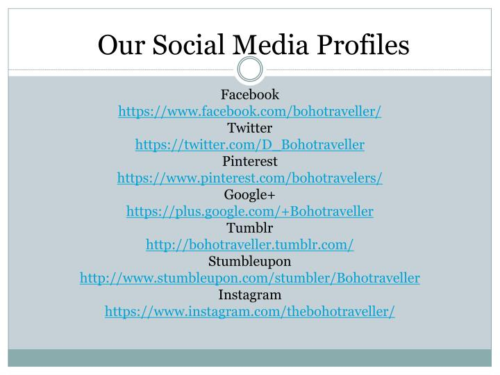 Our Social Media Profiles
