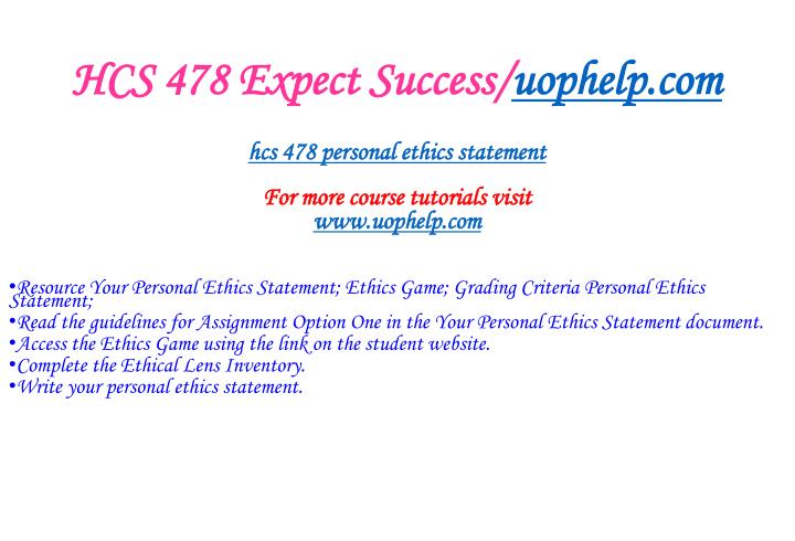 HCS 478 Expect Success/