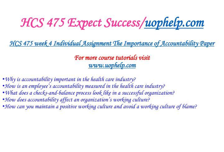 HCS 475 Expect Success/