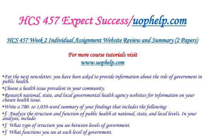 HCS 457 Expect Success/