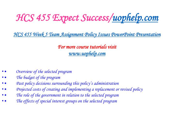 HCS 455 Expect Success/