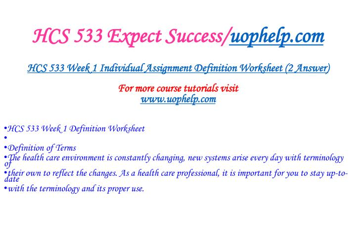 Hcs 533 expect success uophelp com1
