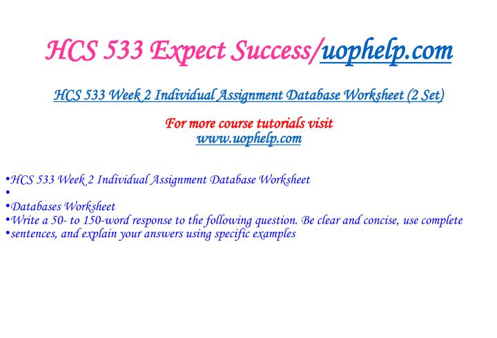 Hcs 533 expect success uophelp com2