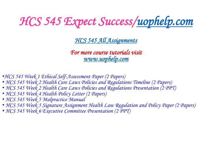 HCS 545 Expect Success/