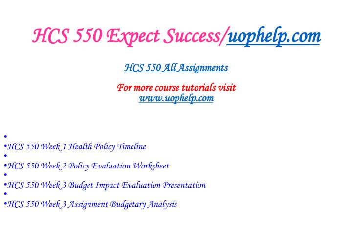 Hcs 550 expect success uophelp com1