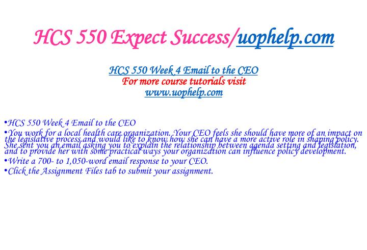 HCS 550 Expect Success/