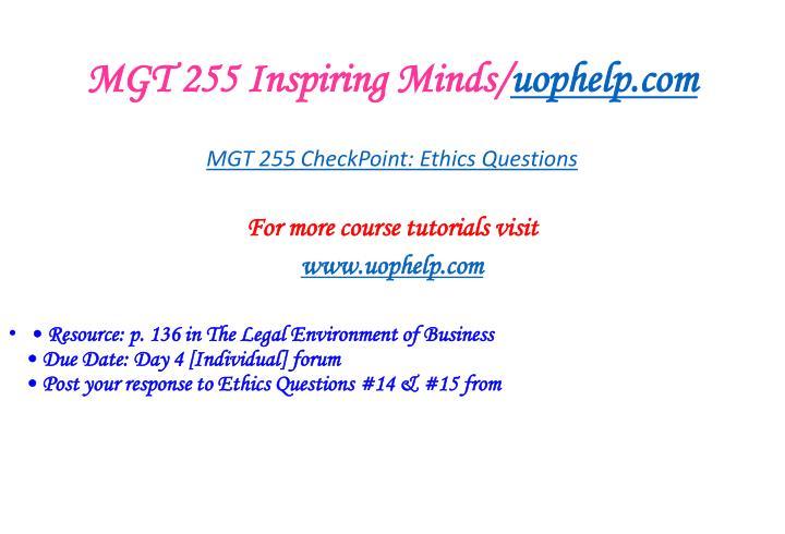 MGT 255 Inspiring Minds/