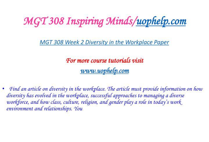 MGT 308 Inspiring Minds/