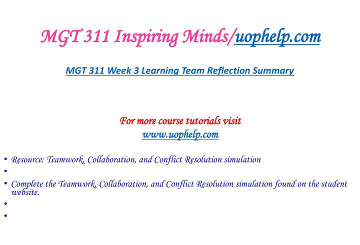 MGT 311 Inspiring Minds/