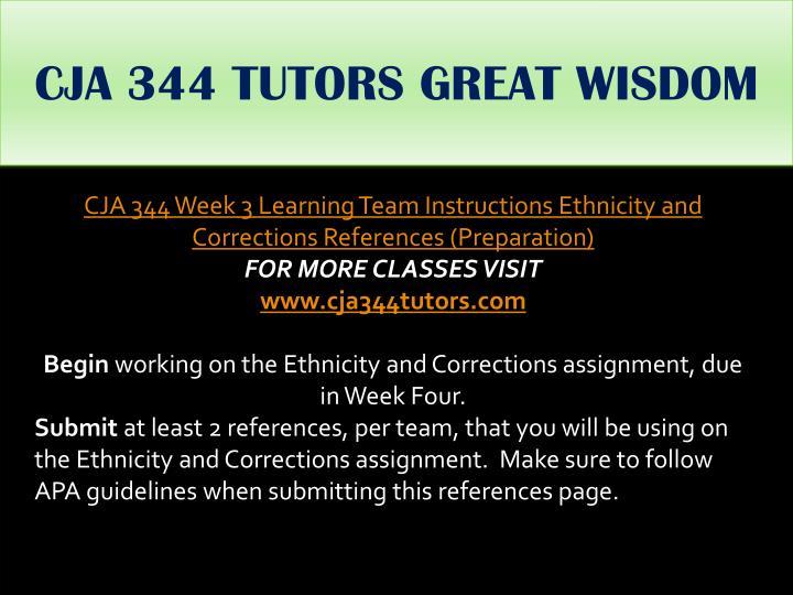 CJA 344 TUTORS GREAT WISDOM