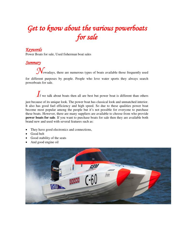 Get to know about the various powerboats