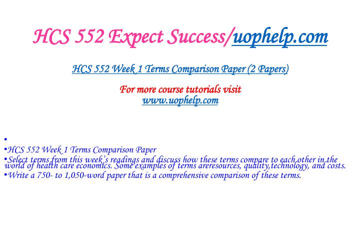 Hcs 552 expect success uophelp com2