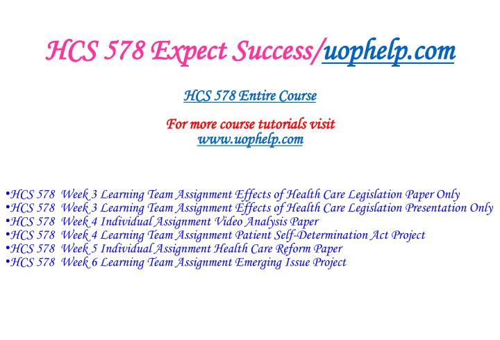 HCS 578 Expect Success/