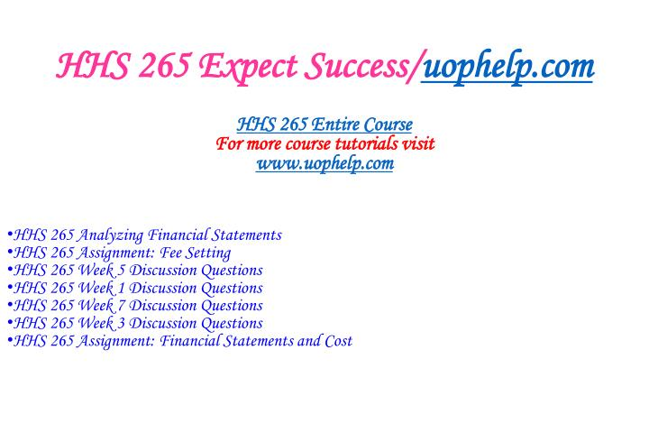 Hhs 265 expect success uophelp com1