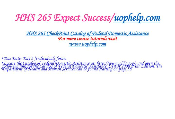 HHS 265 Expect Success/