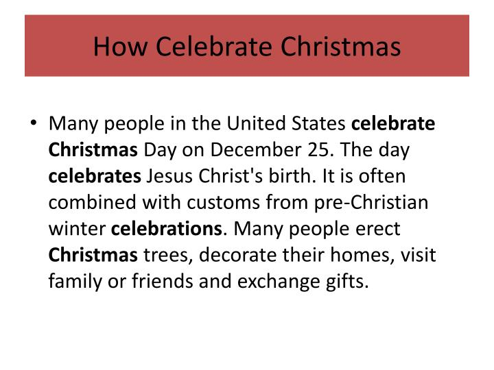 How Celebrate Christmas