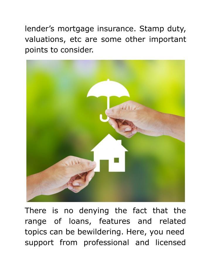 lender's mortgage insurance. Stamp