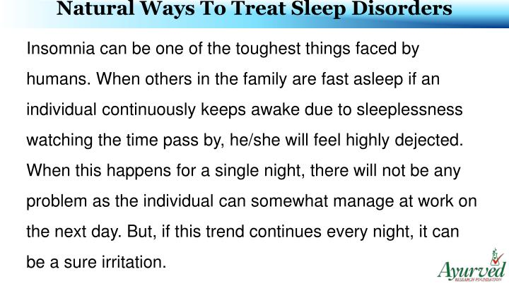 Natural Ways To Treat Sleep Disorders
