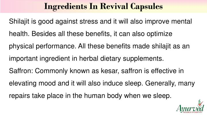 Ingredients In Revival Capsules