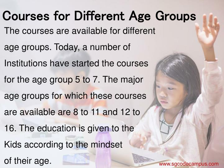 Courses for Different Age Groups