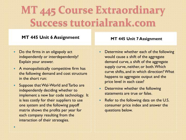 MT 445 Unit 6 Assignment
