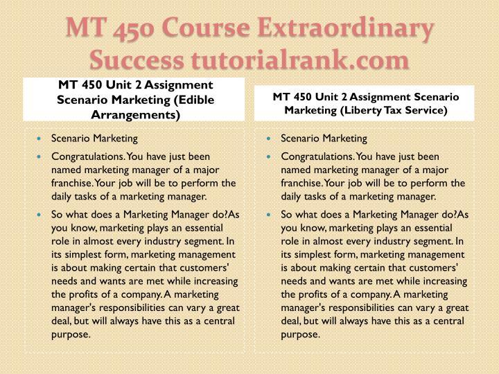 MT 450 Unit 2 Assignment Scenario Marketing (Edible Arrangements)