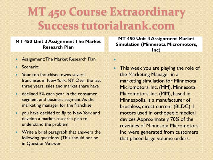 MT 450 Unit 3 Assignment The Market Research Plan