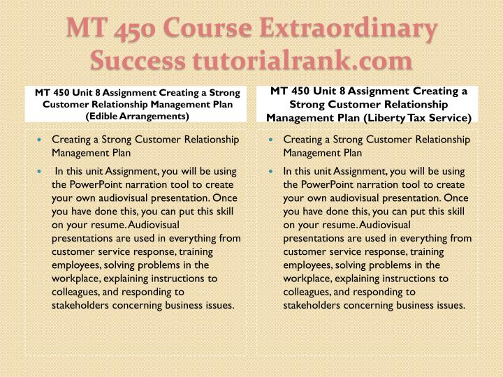MT 450 Unit 8 Assignment Creating a Strong Customer Relationship Management Plan (Edible Arrangements)