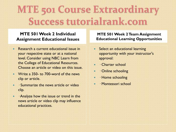 MTE 501 Week 2 Individual Assignment Educational Issues
