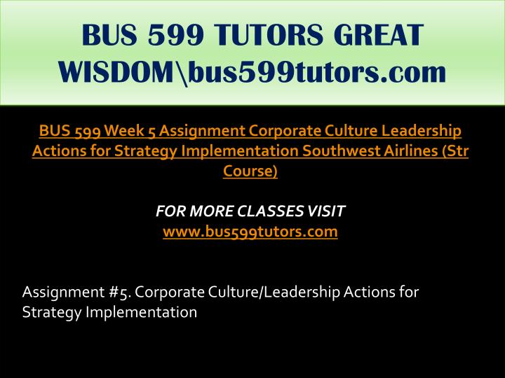 BUS 599 TUTORS GREAT WISDOM\bus599tutors.com