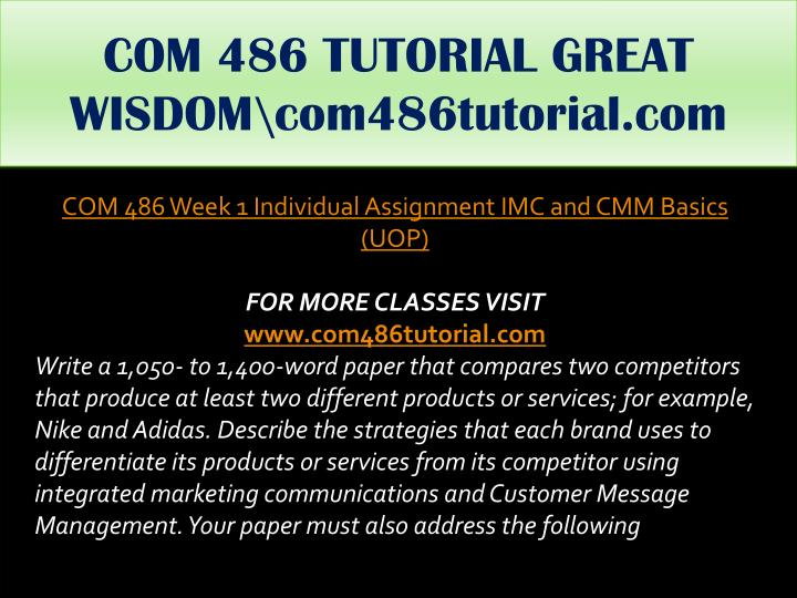 COM 486 TUTORIAL GREAT WISDOM\com486tutorial.com