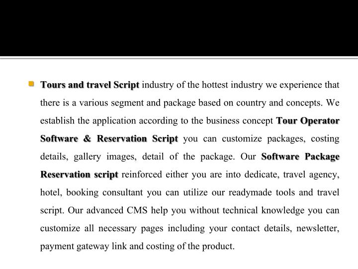 Tours and travel Script